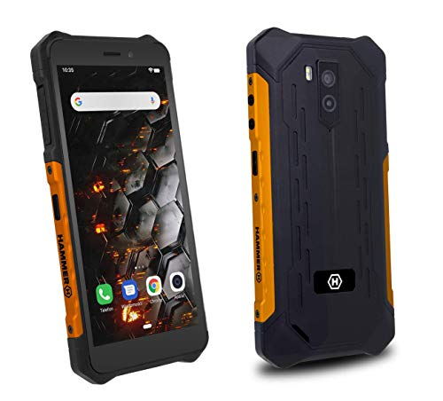 "Hammer H Iron 3 5.5"" IPS, IP68 Robusto Smartphone Militar, Resistente al Agua, a Prueba de Golpes, a Prueba de Polvo, Mega batería 4400mAh, Dual SIM, 16GB de Memoria, Dual SIM, GPS - Naranja"