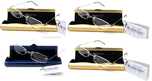 PACK DE 4 UNIDADES de Gafas de lectura UNISEX, presbicia, vista cansada, Diseño elegante LIGERAS estuche de aluminio GRATIS - Venice PENBOX Dioptría (1-2 - 2,50-3 - 3,50) (PACK 4u Azul+Dorado, 2,00)