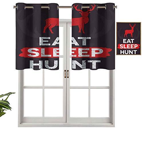 Hiiiman Cortinas cortas opacas con ojales para comer caza de sueño con cita inspiradora Grunge retro silueta de ciervo, juego de 1, cenefas pequeñas de media ventana de 137 x 45 cm para cocina