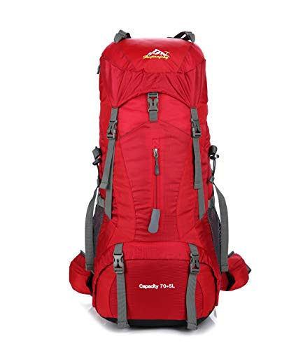 Skytower 75L Hiking Backpack Rucksacks For Outdoor Hiking Travel Climbing Camping Waterproof Mountain Top Mountaineering Bag (RED)