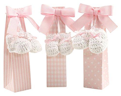 Mopec 1 paar haakschoenen met roze strik en etui met 5 snoepjes, verpakking van 3 haken, wit, 5,00 x 4,00 x 14,50 cm