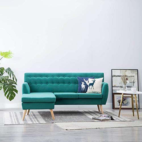 Festnight Sillas Salon Sofá Forma de L Tapizado de Tela Verde 171,5x138x81,5 cm
