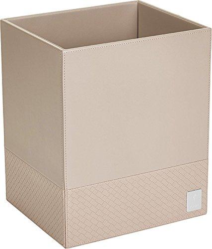 JOOP! Papierkorb Bathline Grau, Leder Optik •Maße (B x H x T): 25 x 30 x 21 cm mit silberner Logoplakette
