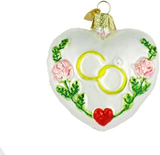 Old World Christmas Bride and Groom Gifts Glass Blown Ornaments for Christmas Tree Wedding Heart