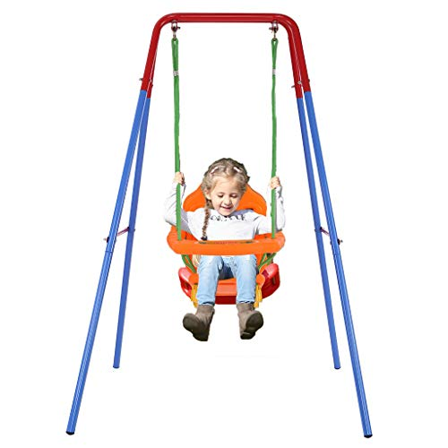 Youen Toddler Swing Set for Backyard, Metal Frame Kids Swing Indoor Outdoor, Toddler Swing for Swingset with Stand for Outside (Multicolour)