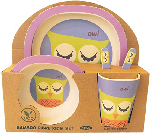Set vajilla de bambú infantil 5 piezas (Búho), Para niños y bebés, Libre de BPA ecológico y biodegradable