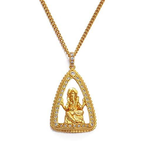 N/B Hindu Hindú 070304 - Colgante religioso de Ganesha para mujer y niña, oro y circonitas, diseño de elefantes