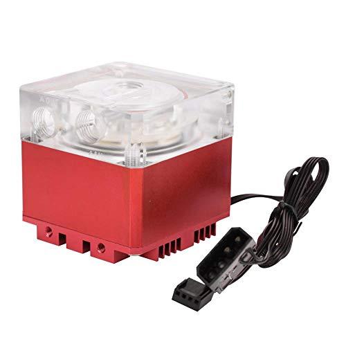 Computadora de Bomba de enfriamiento de PC, 3000RPM Bomba de computadora de disipación de Calor rápida Flujo de 800L/H 3.5 Metros Cabezal de Bomba Tanque de Bomba de PC(Rojo)