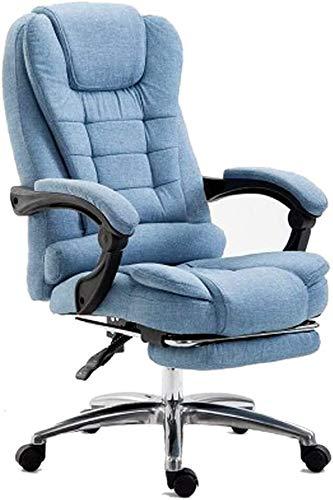TGFVGHB Silla de oficina para ordenador, silla de escritorio, suave y cómoda, para casa, oficina, silla reclinable de tela (color: azul)