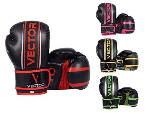 VECTOR SPORTS Boxhandschuhe aus Maya-Leder, handgefertigt, für Boxen, Kickboxen, Sparring, Training mit Boxsack, 8–16Unzen (227-454 g), rot, 397 g