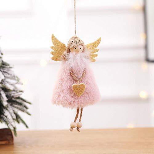 Slibrat Peluche Piume Angelo Bambola Simpatico Albero Di Natale Ciondolo Ornamento Decorazione Regali Per Bambini (Rosa)