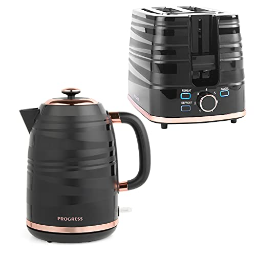 Progress COMBO-7280 Jupiter 2-Slice Toaster and 1.7 L Kettle, Swirl Effect Finish, Rapid Boil, Wide Slots, Black/Rose Gold