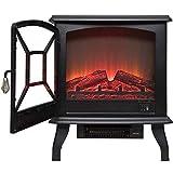Calefactor Calentador de cocina eléctrica chimenea fuego eléctrico portátil con estufa de leña realista efecto 3D y 2 ajustes de calor - Calefacción auxiliar espacio independiente 1600W Blackelectric