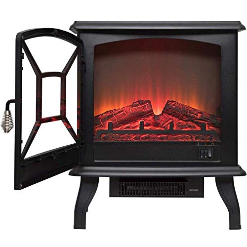 DOUP Portable Electric Stove Heating Fireplace Electric fireplace with Realistic Wood Stove 3D Effect and a couple of Heat Settings – Portable Free-Standing Space Heater 1600W