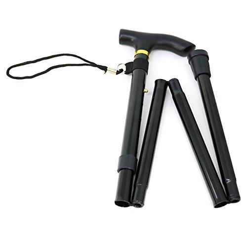 com-four® Bastón de Metal Ajustable en Altura - bastón Plegable con asa Manual para largas Caminatas - Caminar de Forma más Segura con bastón