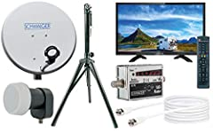 "SCHWAIGER -TVSET- Camping-Sat-System digital komplett | Camping Satelite Bowl | TV 20"" | Satellite Bowl med Single LNB | Satellitkabel 10 m | Stativ | Lörantenn i stål, 42 x 42 cm"