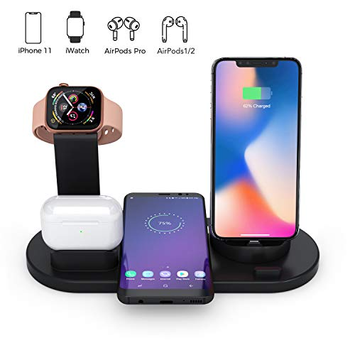 Station Voor Draadloze Oplader, 4 in 1 Qi Fast Wireless Charging Dock Compatibel met Samsung iPhone, Draadloze Oplader Compatibel met AirPods Pro Watch iWatch 1 2 3 4 38 mm 40 mm 42 mm 44 mm (Zwart)