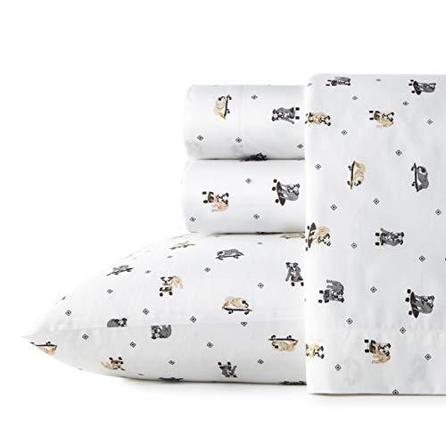 Poppy & Fritz Percale Collection Sheet Set-100% Cotton, Crisp & Cool, Lightweight & Moisture-Wicking Bedding, Queen, Skateboarding Bulldogs
