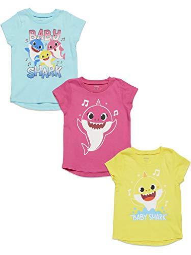Pinkfong Pacote com 3 camisetas de manga curta para meninas Baby Shark, Pink / Yellow/ Blue, 2T