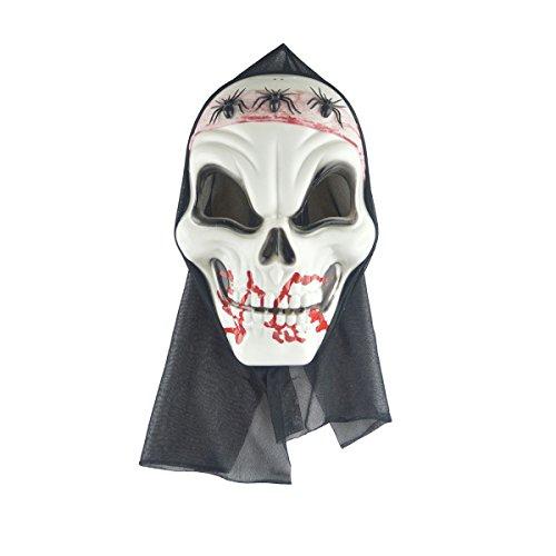 PRETYZOOM Máscara de fantasma de zumbi adulto de caveira de terror de Halloween esqueleto de três aranhas assustadoras adereços de festa fantasia fantasia de cabeça de corpse gritando para festa