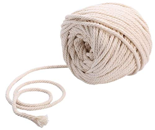 Sadingo Baumwollkordel 5 mm, Weiße Kordel, Schnur aus Baumwolle gedreht, Makramee Garn - 20 Meter am Stück - Off White