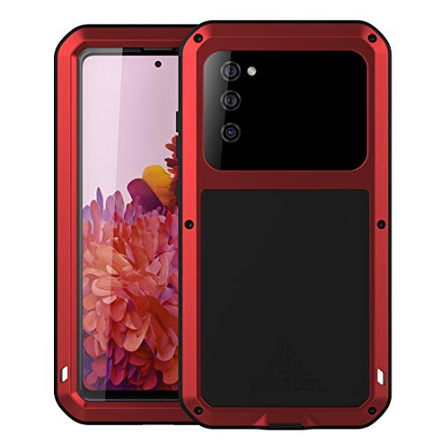 Galaxy S20 FE 5G Metal Case, Samsung S20 FE Bumper, Heavy Duty Military Shockproof Rugged Defender Silicone Armor Cover Protective Outdoor Men Shell for Samsung Galaxy S20 FE 5G 2020 - Red