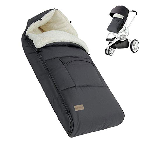 BeebeeRun Baby Footmuff, Snuggle Footmuff with Fleece Lined, Cosy Toes with Hood for Strollers/Prams/Pushchairs, for Baby Under 36 Months