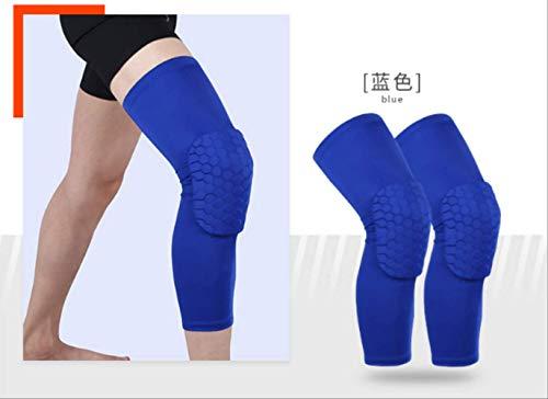 Hot Stripe Sports Verlängern Kniepolster Beinärmel rutschfeste Bandage Kompression Beinwärmer Für Männer Und Frauen 1 Paar XL Blau