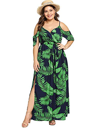 Milumia Women's Plus Cold Shoulder Floral Slit Hem Tropical Summer Maxi Dress...