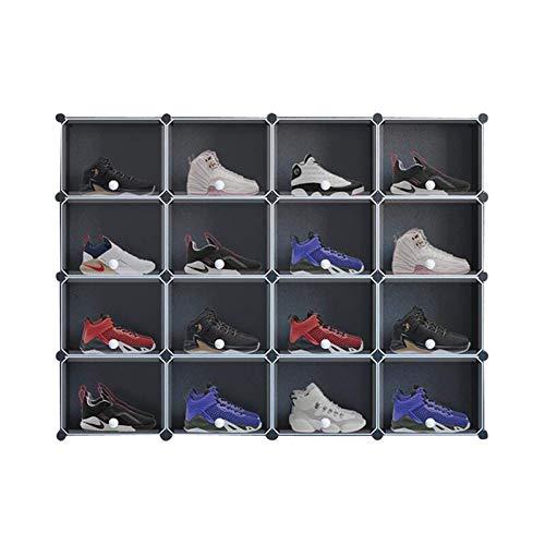 Zapato portátil Almacenamiento 16 Cubo Zapato Mueble de almacenamiento de zapatos Plastic Shoe Box Organizer para el vestíbulo de vestíbulo Dormitorio Entrada Zapato Rack Space Saving Organizador AOIW