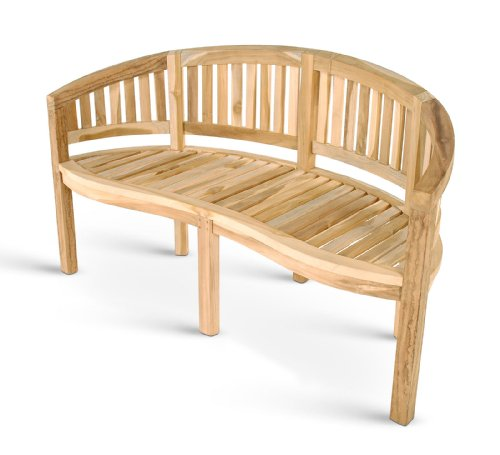 SAM 2-Sitzer Bananenbank Banana, 120 cm Sitzbank, Teak-Holz, Massive Holzbank, ideal für den Balkon oder Garten
