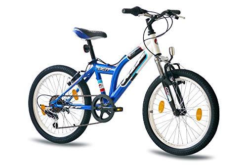 KCP 20 Zoll Mountainbike Kinderfahrrad - JETT SF Weiss blau - Hardtail Kinder Fahrrad für Jungen und Mädchen mit 6 Gang Shimano Schaltung - für Kinder zwischen 6-9 Jahre und 1,20-1,40m Körpergröße
