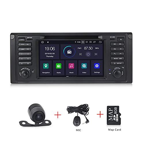 Android 9.0 Autoradio Radio für BMW E39 E53 mit Navi Unterstützt Bluetooth DAB + WLAN 4G USB CD DVD Android Auto MicroSD Aux 7 Zoll Bildschirm 1 Din