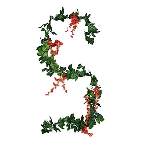 CJFael 2 flores artificiales de glicina artificiales de aspecto bonito decorativo de vid falso de imitación de flores de tela de seda para ventana, jardín, boda, fiesta, decoración de color rojo