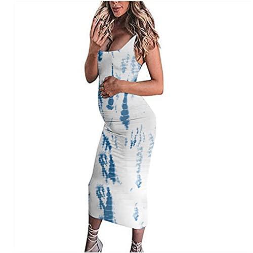Schwangere Ärmelloses Print-Kleid Freizeitkleid Röcke Trägerkleid Langen Rock Weste Kleid Druck Sommerkleid Maxikleider Stillkleid Umstandskleid lässig runden Hals Kleid