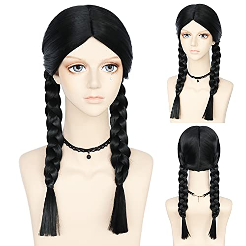 ANOGOL Black Braided Wig with Middle Part wig Long...