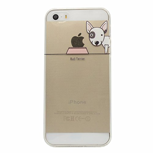 Keyihan Cover Compatibile con iPhone 5 e iPhone 5S e iPhone SE Custodia Ultra Leggera Sottile Trasparente disegni Morbida Silicone TPU Case Divertente Carina Cucciolo Cane Modello (Bull Terrier)