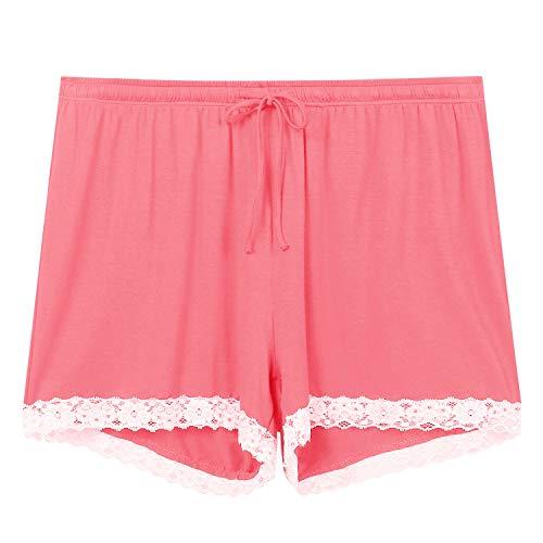 Amorbella Pyjama-Shorts für Damen, Baumwolle, bequem, Boxershorts, Schlafanzug, Lounge, kurze Hose Gr. S, wassermelone