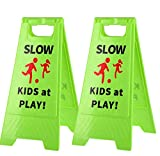 SLOW KIDS AT PLAY:Green warning signs, black Enlarge SLOW letters warning slogans and red children's icons are used to let passing drivers, cyclists and motorcyclists see them from a distance and immediately raise their attention, so as to protect ch...
