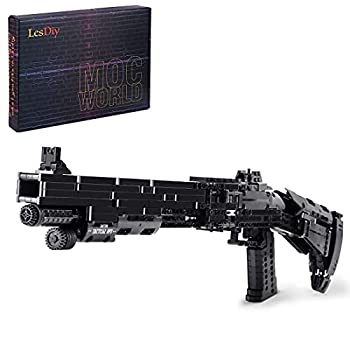 Goshfun 1061Pcs+ Simulation Large Scale Double Shot M4 Toy Blaster Building Block Model Set Small Particle Bricks Assembly Mechanical Weapon Model Toy