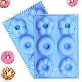 Gresunny 2 pezzi stampo per ciambella silicone 6 cavità mini donut stampi antiaderente senza BPA vassoio per stampi per biscotti ciambelle torte cioccolato dolci waffle muffa