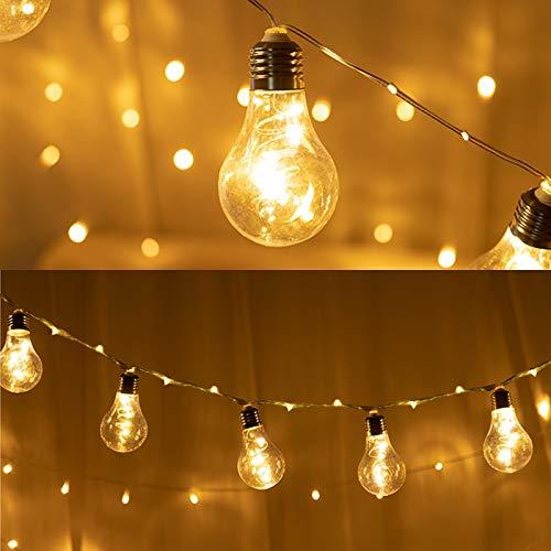 LED Glühbirnen, 100 LEDs Kupferdraht Lichterkette, 10 Glühbirnen Girlandenlichter, 8 Blinkmodi Deko Beleuchtung, für Weihnachtsdeko Hochzeit Party Terrasse Café Garten