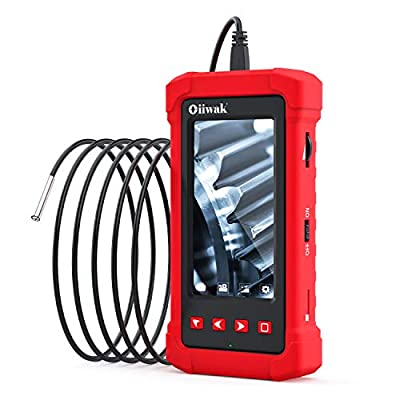Oiiwak Industrial Endoscope, 3.9mm Borescope Inspection Camera with Light 1080P HD Video 4.3 Inch Digital Screen,Waterproof Semi-Rigid Snake Camera for Automotive Engine Repair/Tool Box (1.5m/5ft)