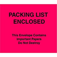 Aviditi PL483 Poly Envelope, Legend PACKING LIST ENCLOSED - This Envelope Contains Important Papers Do Not Destroy, 7 Length x 6 Width, 2 mil Thick, Black on Red (Case of 1000) by Aviditi