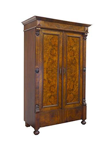 Antiker Dielenschrank um 1880 Nussbaum Wurzelholz | Kleiderschrank Garderobenschrank Schrank | B: 117 cm (9767)