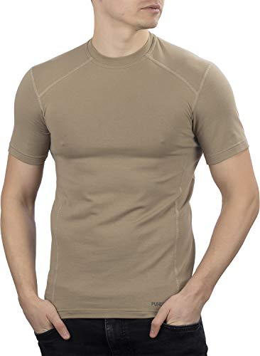 281Z Military Stretch Cotton Underwear T-Shirt - Tactical Hiking Outdoor - Punisher Combat Line (Tan, Large)
