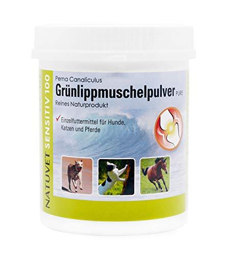 NatuVerde Grünlippmuschel-Pulver für Hunde, Katzen und Pferde, 500-g-Dose mit Dosierlöffel. 100% reines Perna Canaliculus aus Neuseeland.