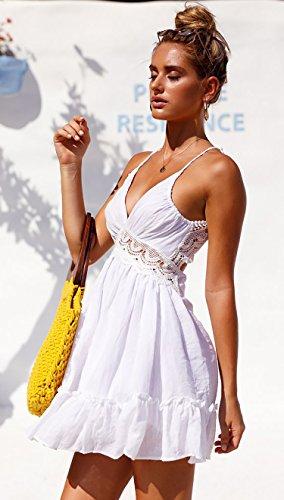 ECOWISH ECOWISH V Ausschnitt Kleid Damen Spitzenkleid Träger Rückenfreies Kleider Sommerkleider Strandkleider Weiß2 L