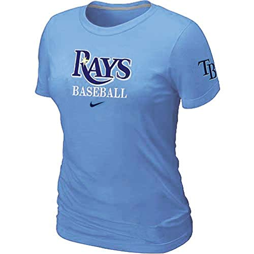 Nike Womens Tampa Bay Rays Baseball Practice Wordmark Spellout Logo T-Shirt 26224X_DV4 (Light Blue, Slim FIt 2XL)