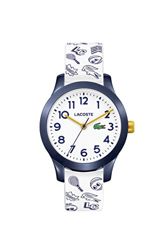Lacoste Kids' TR90 Quartz Watch with Rubber Strap, White, 14 (Model: 2030011)